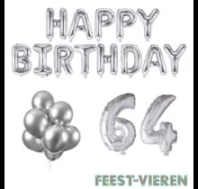 64 jaar Verjaardag Versiering Ballon Pakket zilver