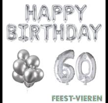 60 jaar Verjaardag Versiering Ballon Pakket zilver