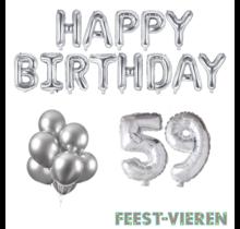 59 jaar Verjaardag Versiering Ballon Pakket zilver