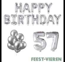 57 jaar Verjaardag Versiering Ballon Pakket zilver