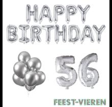56 jaar Verjaardag Versiering Ballon Pakket zilver