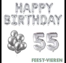 55 jaar Verjaardag Versiering Ballon Pakket zilver