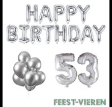 53 jaar Verjaardag Versiering Ballon Pakket zilver