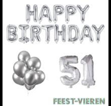 51 jaar Verjaardag Versiering Ballon Pakket zilver