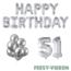 Feest-vieren 51 jaar Verjaardag Versiering Ballon Pakket zilver