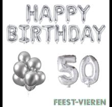 50 jaar Verjaardag Versiering Ballon Pakket zilver