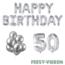 Feest-vieren 50 jaar Verjaardag Versiering Ballon Pakket zilver