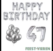 47 jaar Verjaardag Versiering Ballon Pakket zilver