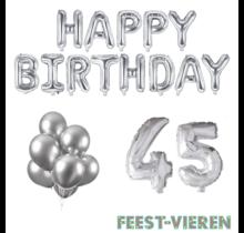 45 jaar Verjaardag Versiering Ballon Pakket zilver