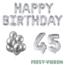 Feest-vieren 45 jaar Verjaardag Versiering Ballon Pakket zilver