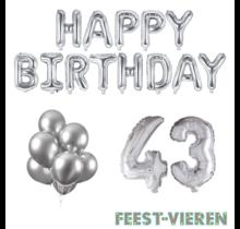 43 jaar Verjaardag Versiering Ballon Pakket zilver