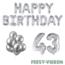 Feest-vieren 43 jaar Verjaardag Versiering Ballon Pakket zilver