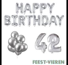 42 jaar Verjaardag Versiering Ballon Pakket zilver