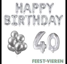 40 jaar Verjaardag Versiering Ballon Pakket zilver