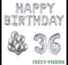 36 jaar Verjaardag Versiering Ballon Pakket zilver