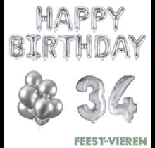 34 jaar Verjaardag Versiering Ballon Pakket zilver