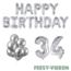 Feest-vieren 34 jaar Verjaardag Versiering Ballon Pakket zilver