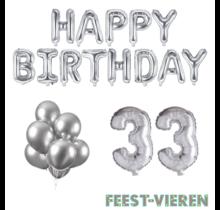 33 jaar Verjaardag Versiering Ballon Pakket zilver