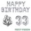 Feest-vieren 33 jaar Verjaardag Versiering Ballon Pakket zilver