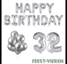 32 jaar Verjaardag Versiering Ballon Pakket zilver