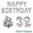 Feest-vieren 32 jaar Verjaardag Versiering Ballon Pakket zilver