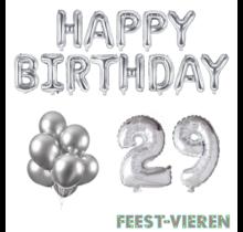 29 jaar Verjaardag Versiering Ballon Pakket zilver