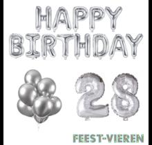 28 jaar Verjaardag Versiering Ballon Pakket zilver