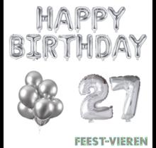 27 jaar Verjaardag Versiering Ballon Pakket zilver