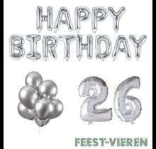 26 jaar Verjaardag Versiering Ballon Pakket zilver