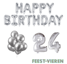 24 jaar Verjaardag Versiering Ballon Pakket zilver