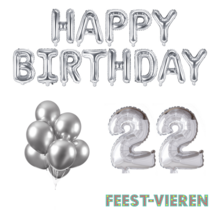 22 jaar Verjaardag Versiering Ballon Pakket zilver