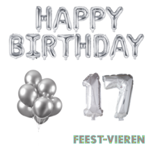 17 jaar Verjaardag Versiering Ballon Pakket zilver