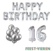 16 jaar Verjaardag Versiering Ballon Pakket zilver