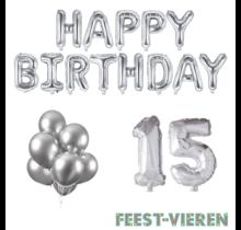 15 jaar Verjaardag Versiering Ballon Pakket zilver