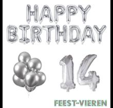 14 jaar Verjaardag Versiering Ballon Pakket zilver