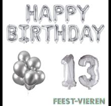 13 jaar Verjaardag Versiering Ballon Pakket zilver