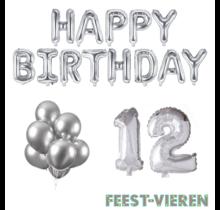 12 jaar Verjaardag Versiering Ballon Pakket zilver