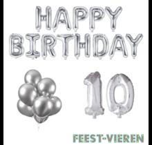 10 jaar Verjaardag Versiering Ballon Pakket zilver