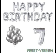 7 jaar Verjaardag Versiering Ballon Pakket zilver