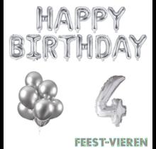 4 jaar Verjaardag Versiering Ballon Pakket zilver