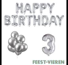 3 jaar Verjaardag Versiering Ballon Pakket zilver