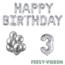 Feest-vieren 3 jaar Verjaardag Versiering Ballon Pakket zilver