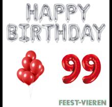 99 jaar Verjaardag Versiering Ballon Pakket rood & zilver