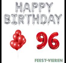 96 jaar Verjaardag Versiering Ballon Pakket rood & zilver