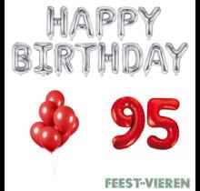 95 jaar Verjaardag Versiering Ballon Pakket rood & zilver