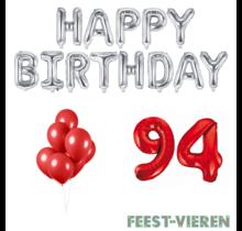 94 jaar Verjaardag Versiering Ballon Pakket rood & zilver