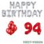 Feest-vieren 94 jaar Verjaardag Versiering Ballon Pakket rood & zilver