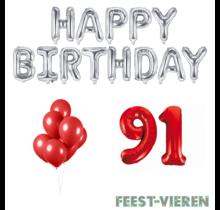 91 jaar Verjaardag Versiering Ballon Pakket rood & zilver