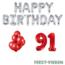 Feest-vieren 91 jaar Verjaardag Versiering Ballon Pakket rood & zilver