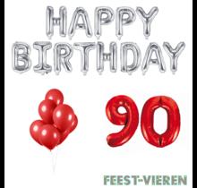 90 jaar Verjaardag Versiering Ballon Pakket rood & zilver